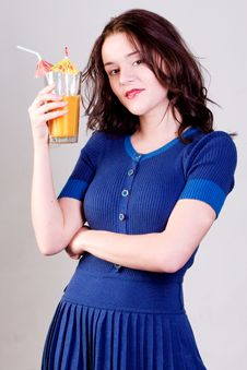 Free Beauty Young Woman With Orange Cocktail Royalty Free Stock Images - 14008949