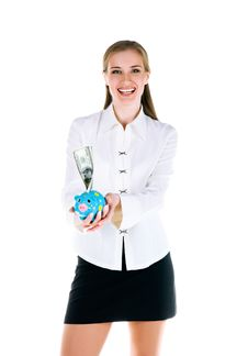 Free Young Women With A Piggy Bank Stock Photo - 14008960
