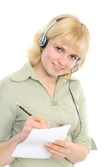 Free Service Representative In Headset Royalty Free Stock Images - 14008969