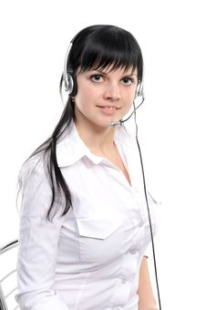 Free Service Representative In Headset Royalty Free Stock Photo - 14008975