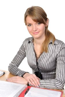 Business Woman Behind A Table Stock Photo