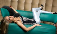 Free Girl Lying On The Sofa Royalty Free Stock Photos - 14009038