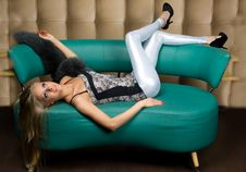Free Girl Lying On The Sofa Royalty Free Stock Image - 14009046