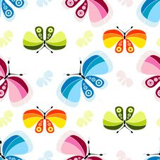 Seamless White Pattern With Butterflies Royalty Free Stock Photos