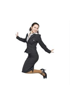 Free Jumping Businesswoman Stock Photography - 14009772