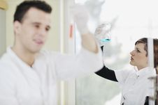 Free Students Couple In Lab Stock Photo - 14009980