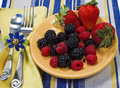 Free Berries On A Yellow Plate Stock Photography - 14014762