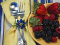 Free Berries On A Yellow Plate With Silverware Royalty Free Stock Images - 14014859