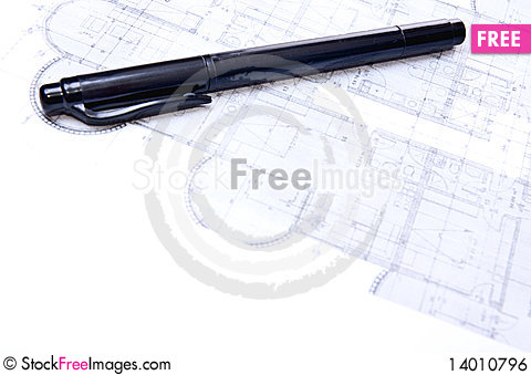 Free Pencil And Plan Royalty Free Stock Image - 14010796