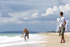 Free Two Yong Surfer Royalty Free Stock Image - 14012196