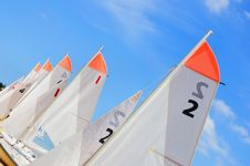 Several Boats With Sails Royalty Free Stock Photos