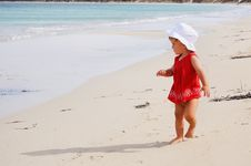 Free Little Happy Girl In A Red Dress Stock Photos - 14012363