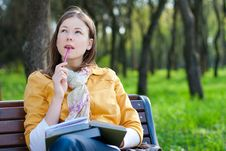 Free Woman With Book In Park Stock Images - 14012374