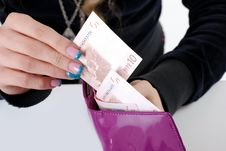 Free Lady S Wallet With The Euro. Royalty Free Stock Photo - 14012565