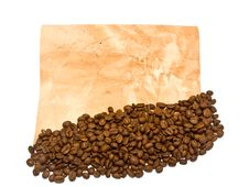 Grains Of Coffee And Old Paper Stock Photo