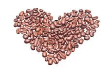 Free Coffee Beans Heart Stock Image - 14013171