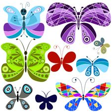 Free Set Abstract Colorful Butterflies Royalty Free Stock Image - 14013286