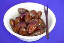 Free Bowl Of Date Fruit With A Wooden Fork Royalty Free Stock Images - 14014869