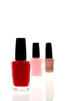 Three Nail Polish Containers Stock Photo