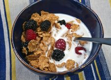 Free Bowl Of Cereal With Milk And Berries On A Striped Royalty Free Stock Photo - 14015395