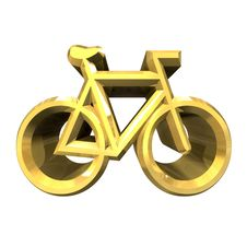 Free Bike Symbol In Gold (3d) Stock Images - 14015854