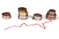 Business Graph And Coins Royalty Free Stock Images