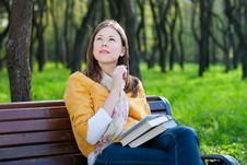 Free Woman With Book In Park Stock Images - 14016574