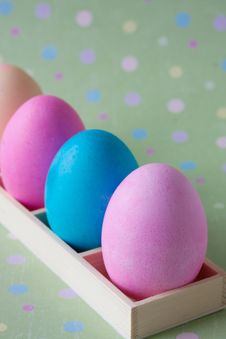 Free Colorful Easter Eggs In Wooden Box Stock Images - 14017144