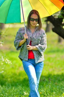 Free Beautiful Woman With Umbrella Royalty Free Stock Image - 14019916