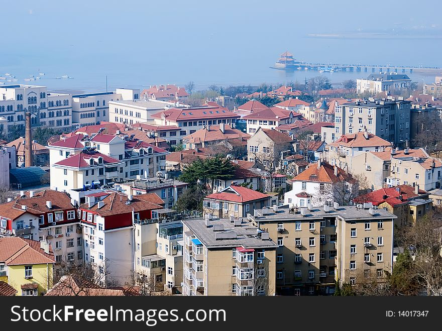 Aerial view of Old City in qingdao