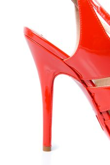 Free Heel Of Red Leather Female Shoe Stock Photo - 14020340