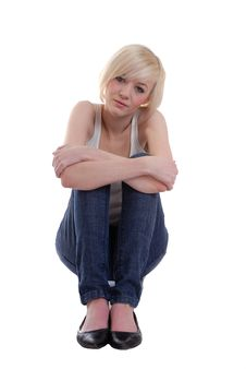 Free Pretty Blond Girl Sitting Royalty Free Stock Photo - 14020395