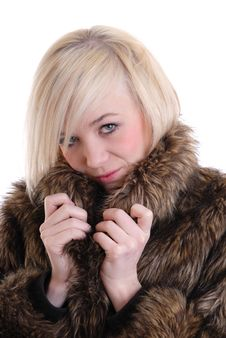 Free Pretty Blond Wearing Fur Stock Images - 14020454
