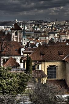 Prague Old Town Under The Heavy Sky Royalty Free Stock Photography
