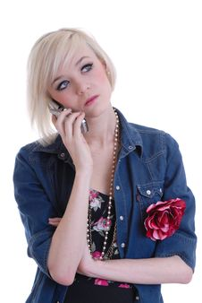 Free Pretty  Blond Girl Using Mobile Phone Royalty Free Stock Photos - 14020548