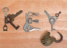 Free Old Padlock And Word Key Royalty Free Stock Image - 14020606