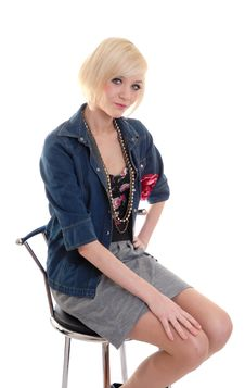 Free Pretty Blond On Stool Stock Photo - 14020620