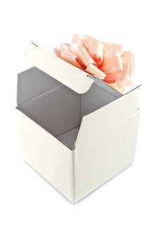 Free Gift Box With Rose-colored Ribbon Royalty Free Stock Photo - 14020915