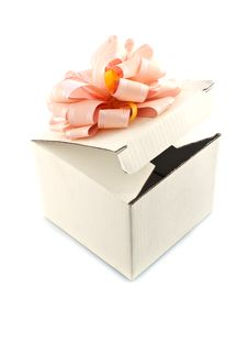 Free Gift Box With Rose-colored Ribbon Stock Photo - 14020920