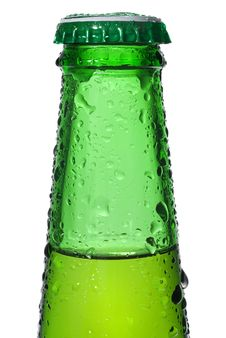 Green Beer Bottle With Water Drops Stock Photo
