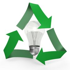 A Light Bulb Inside The Recycle Symbol - 3d Image Stock Photography