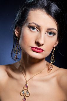Beautiful Woman Wearing Jewelry Royalty Free Stock Photos