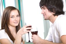 Free Long-haired Girl And Boy With Wineglasses Royalty Free Stock Photos - 14023878