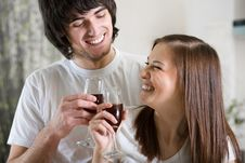 Free Nice Girl With Boy With Wineglasses Stock Photography - 14024162