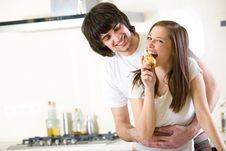 Free Nice Girl With Pear And With Boy Royalty Free Stock Photography - 14024287