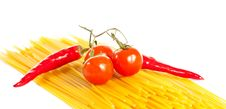 Free Red Hot Chilli Peppers, Tomatoes And Pasta Stock Photography - 14025262