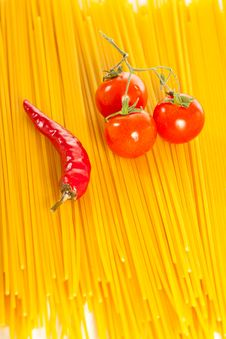 Free Red Hot Chilli Peppers, Tomatoes And Pasta Stock Photos - 14025273