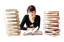 Free The Girl Reads Books Royalty Free Stock Photos - 14025548