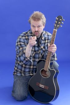 Portrait Of A Man With Guitar Stock Photos
