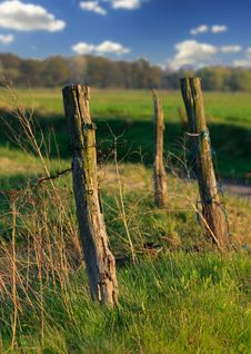 Landscape With A Fence Stock Photo